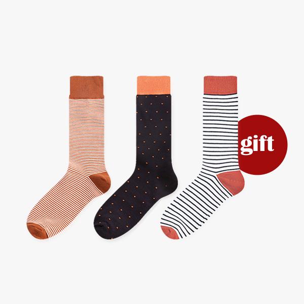선물세트set.29오렌지 포인트/ 남자 패션 정장 데일리 양말 선물 세트 gift set