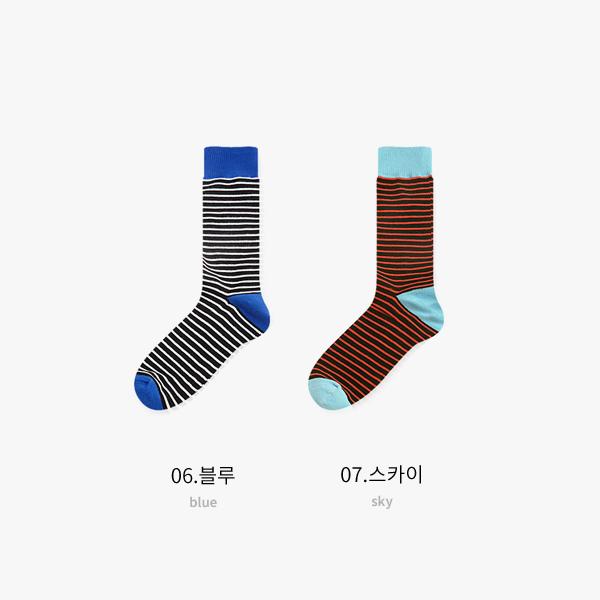 펜슬 스트라이프 양말 7color  / 남자 패션 전장