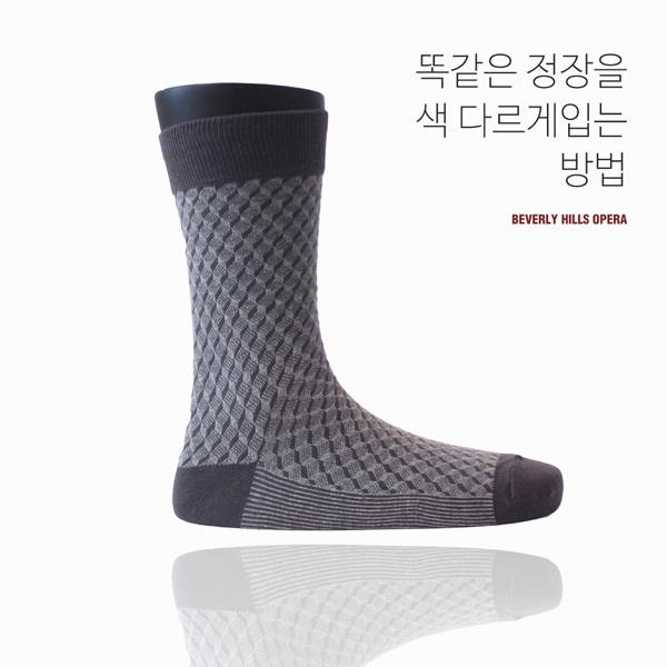 프레임 패턴그레이/ 남자 패션 정장 양말 패턴 체크