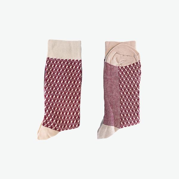 프레임 패턴와인/ 남자 패션 정장 양말 패턴 체크