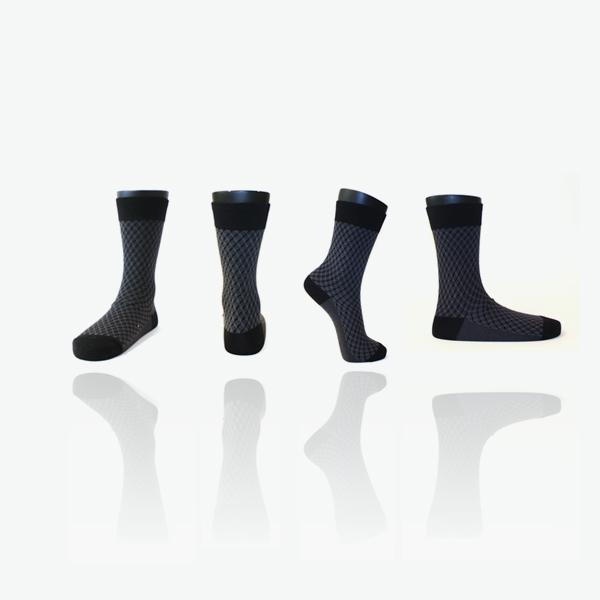 프레임 패턴블랙/ 남자 패션 정장 양말 패턴 체크