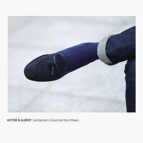 프리미엄 블루 투콧 도트 / 남자 실켓사 정장양말