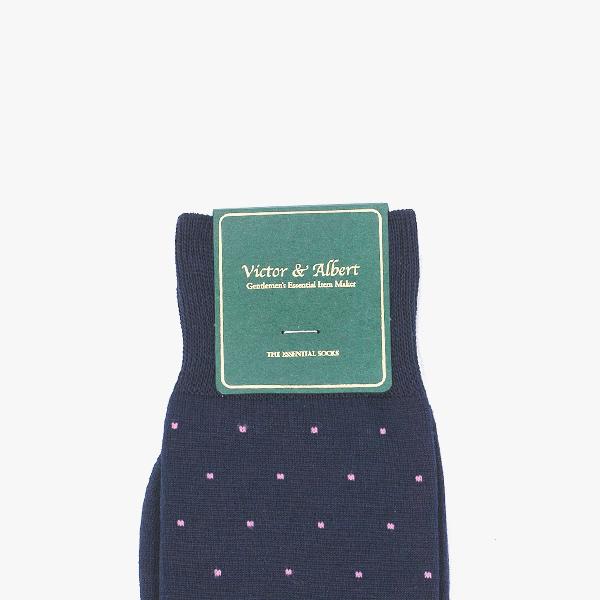 프리미엄 네이비 핑크 도트 / 남자 실켓사 정장양말