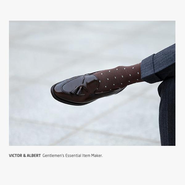 프리미엄 브라운 스퀘어 도트 / 남자 실켓  정장 양말
